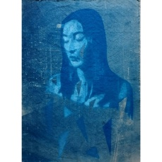 City Night - Cyanotype and spray paint