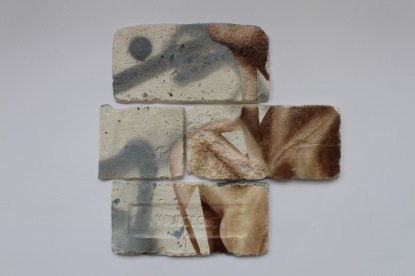 Untitled (2/3), oil and spray paint on plaster, 34.5 cm x 35 cm x 1 cm