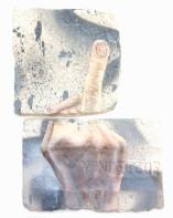F*** off, oil and spray paint on plaster, 23 cm x 16 cm x 1 cm