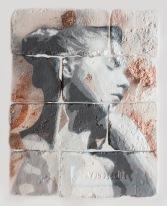With eyes closed #1,spray paint on plaster, 45 cm x 35 cm x 1 cm