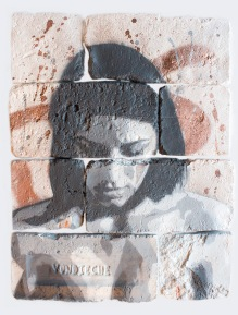 With eyes closed #2, spray paint on plaster, 45 cm x 35 cm x 1 cm