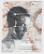With eyes closed #4, spray paint on plaster, 45 cm x 35 cm x 1 cm