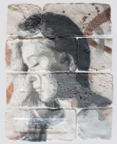With eyes closed #5, spray paint on plaster, 45 cm x 35 cm x 1 cm