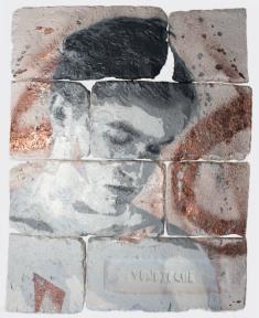 With eyes closed #6, spray paint on plaster, 45 cm x 35 cm x 1 cm