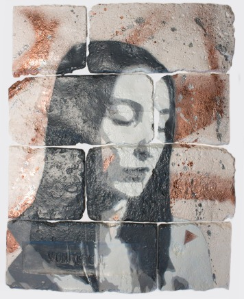 With eyes closed #8, spray paint on plaster, 45 cm x 35 cm x 1 cm