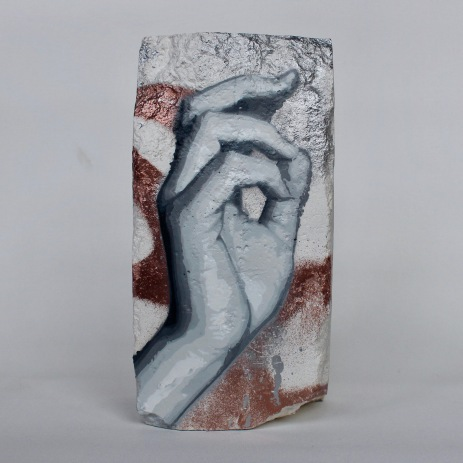 Hand Studie #7, spray paint on plaster, 23 cm x 11 cm x 9 cm