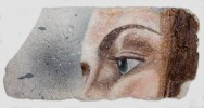 Eye studie #1 , oil and spray paint on plaster, 11 cm x 23 cm x 1 cm