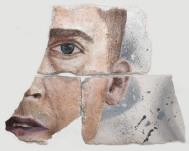 Eye Studie #2, oil and spray paint on plaster, 23 cm x 29 cm x 1 cm