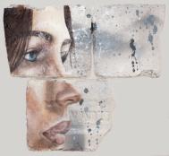 Eye Studie #3,oil and spray paint on plaster, 23 cm x 25 cm x 1 cm