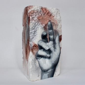 Hand Studie #8, spray paint on plaster, 23 cm x 11 cm x 9 cm