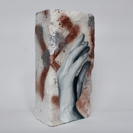 Hand Studie #10, spray paint on plaster, 23 cm x 11 cm x 9 cm