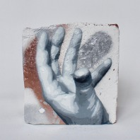 Hand Studie #13, spray paint on plaster, 12 cm x 11 cm x 9 cm